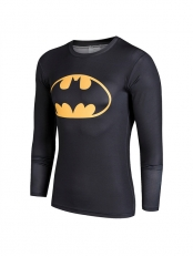 Black Batman Superhero Quick Dry 3D Patterns Tee Sportswear
