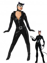 Black DC Comics Shiny Metallic Catwoman Superhero Costume