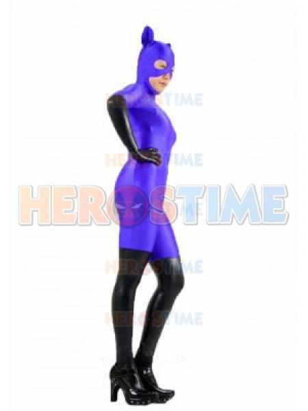 purple  u0026 black spandex catwoman superhero costume