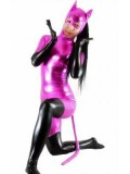 Shiny Metallic Fuchsia & Black Catwoman Costume