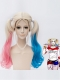 Harley Quinn Wig Gold Pink Blue Long Tails Cosplay Wig
