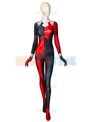 Classic Harley Quinn Super Villain Printed Cosplay Costume No MASK