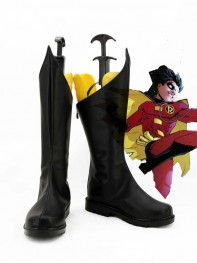 Red Robin Tim Drake Black Superhero Cosplay Boots