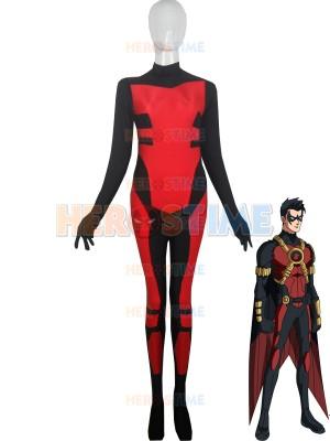 Red Robin Tim Drake Spandex Superhero Costume