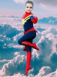 Kids Superhero Costume MsMarvel Carol Danvers Girls Superhero Costume