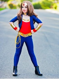 Kids Wonder Woman Costume Girls Spandex Superhero Suit