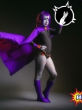 Kids Raven Spandex DC Comics Superhero Costume
