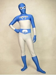 Blue Talon Spandex Blue & White Superhero Costume