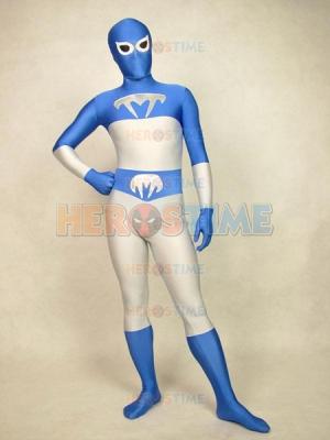 Blue Talon Spandex Blue & White Superhero Costume
