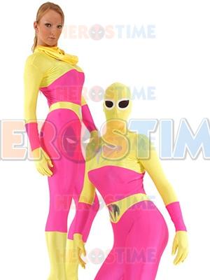 Blue Talon Spandex Pink & Yellow Superhero Costume