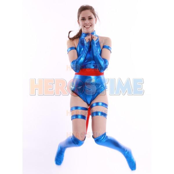 Blue Shiny Female Psylocke Ninja Costume halloween cosplay superhero costumes