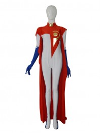 Custom White & Red Female Superhero Costume