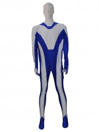 Custom White & Blue Fullbody Zentai Suit