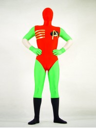 Fullbody Red & Green Spandex Superhero Costume