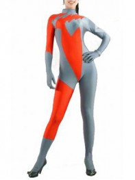 Gray & Orange Spandex Superhero Costume