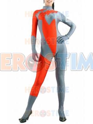 Gray & Orange Spandex Superhero Costume