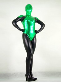 Green & Black Shiny Metallic Superhero Costume