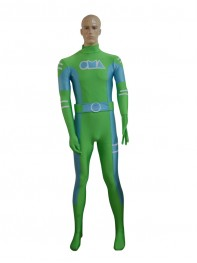 Green & Sky Blue Spandex Custom Superhero Costume