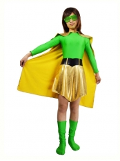 Green Spandex & Light Gold Metallic Superhero Costume