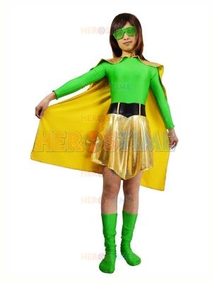 Green Spandex & Light Gold Metallic Superhero Costume