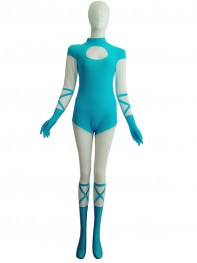Light Blue And White Spandex Superhero Costume
