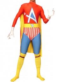 Multicolor Spandex Superhero Costume With Cape