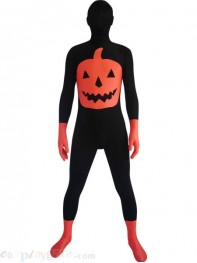 Halloween Pumpkin Black & Red Spandex Costume