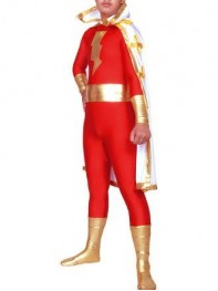 Captain-Marvel Metallic & Spandex Superhero Costume