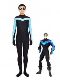Light Blue & Black Spandex Nightwing Superhero Costume