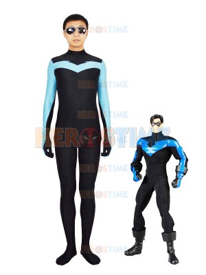 Light Blue & Black Spandex Nightwing Superhero Costume