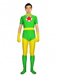 DC Comics Red Star Green & Yellow Spandex Superhero Costume