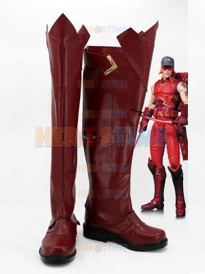 Red Arrow Roy Harper Dark Red Cosplay Boots