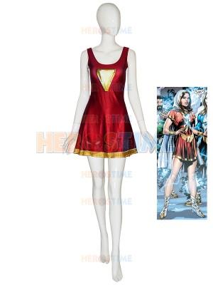 Mary-Marvel Suit Shazam Family Printing Cosplay Dress