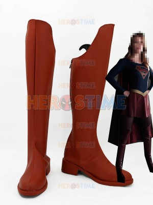 Dark Red Supergirl Long Cosplay Boots