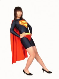 Black & Red Leotard Style Supergirl Superhero Costume