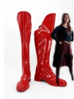 Red Supergirl Long Cosplay Boots
