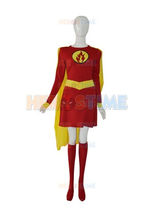 Supergirl Custom Red & Yellow Female Superhero Costume