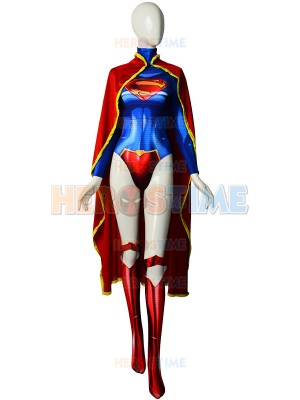 The New 52 Supergirl Printing Female Superhero Cosplay Costume With Cape