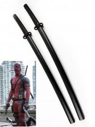 Deadpool Marvel Comics Superhero Double Katana Swords With Strap