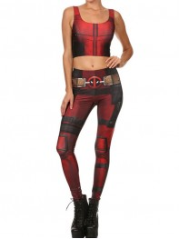 Fashion Newest Lady Deadpool Superhero Print Vest Top Fitting Leggings