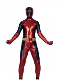 Red & Black Shiny Metallic Deadpool Costume
