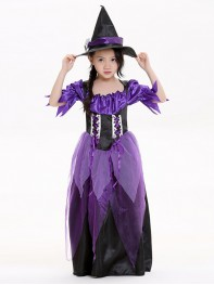 2017 Kids Halloween Costumes Purple Witch Costume