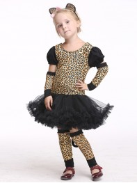 Girls Leopard Print Costume Mini Popstar Halloween Famous Dancing Costume
