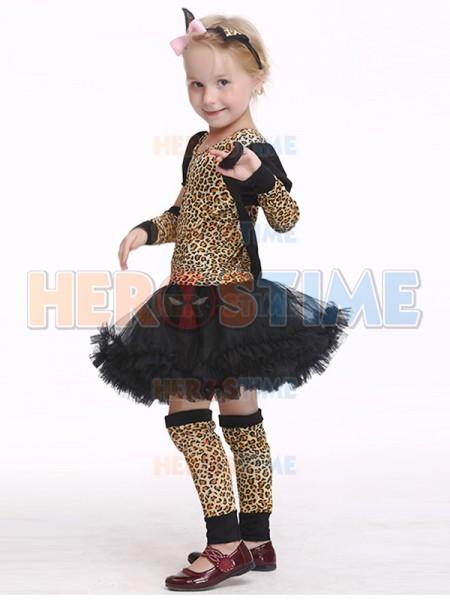 ... Girls Leopard Print Costume Mini Popstar Halloween Famous Dancing Costume ...  sc 1 st  Herostime.com & Halloween Leopard Print Fancy Dress Party Costume Tutu Dress