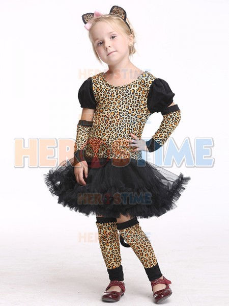 Halloween Leopard Print Fancy Dress Party Costume Tutu Girls Mini