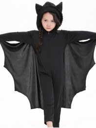 Kids Black Batgirl Long Sleeve Dance Dress Halloween Costume