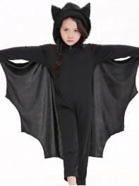 Kids Black Batgirl Long Sleeve Dance Dress Halloween Costume