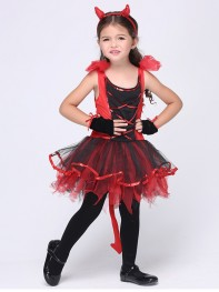 Kids Girl Children Halloween Costume Red Evil Clothes Party Dress