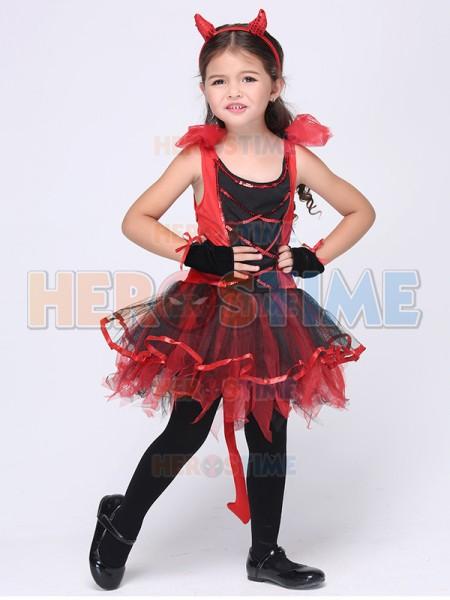 sc 1 st  Herostime.com & Kids Girl Children Halloween Costume Red Evil Clothes Party Dress