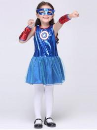 New Captain America Girl's Fancy Dress Halloween Kids Superhero Cosplay Costume